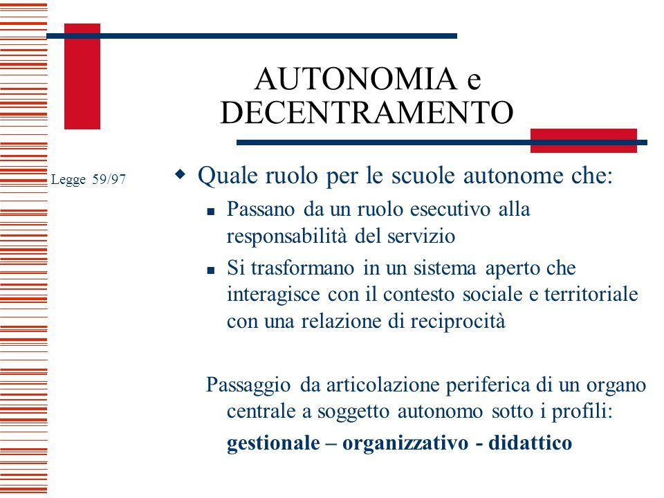 AUTONOMIA e DECENTRAMENTO Quale ruolo per le scuole autonome che: Passano da un ruolo esecutivo alla responsabilità del servizio Si trasformano in un