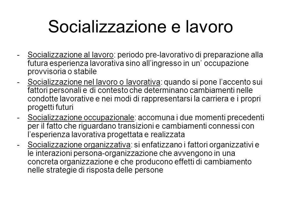 Socializzazione e lavoro -Socializzazione al lavoro: periodo pre-lavorativo di preparazione alla futura esperienza lavorativa sino allingresso in un o