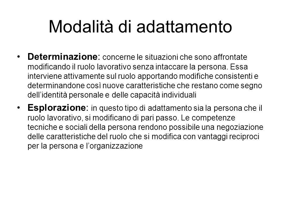 Modalità di adattamento Determinazione: concerne le situazioni che sono affrontate modificando il ruolo lavorativo senza intaccare la persona. Essa in