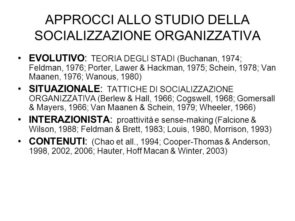 APPROCCI ALLO STUDIO DELLA SOCIALIZZAZIONE ORGANIZZATIVA EVOLUTIVO: TEORIA DEGLI STADI (Buchanan, 1974; Feldman, 1976; Porter, Lawer & Hackman, 1975;