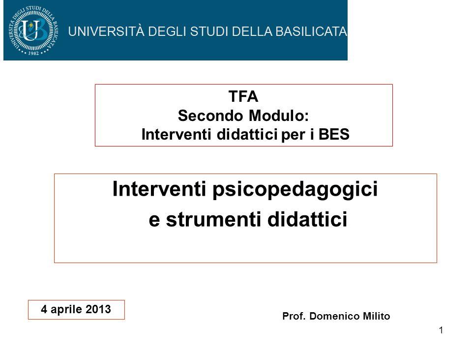 1 Interventi psicopedagogici e strumenti didattici Prof. Domenico Milito TFA Secondo Modulo: Interventi didattici per i BES 4 aprile 2013