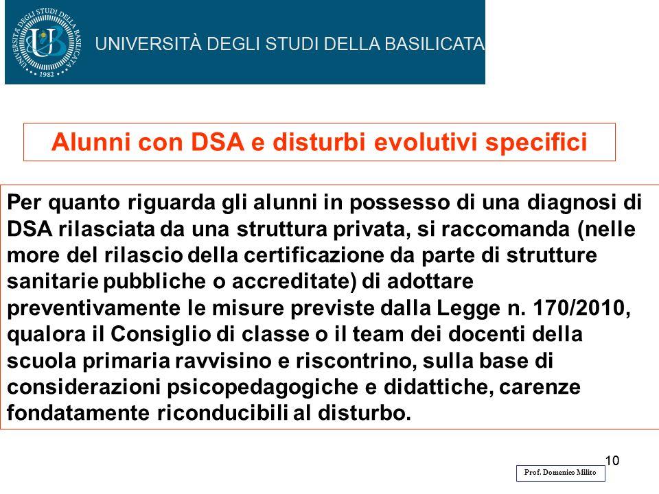 10 Per quanto riguarda gli alunni in possesso di una diagnosi di DSA rilasciata da una struttura privata, si raccomanda (nelle more del rilascio della
