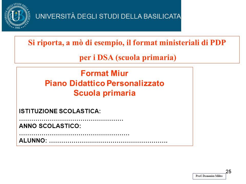 25 Si riporta, a mò di esempio, il format ministeriali di PDP per i DSA (scuola primaria) Format Miur Piano Didattico Personalizzato Scuola primaria I