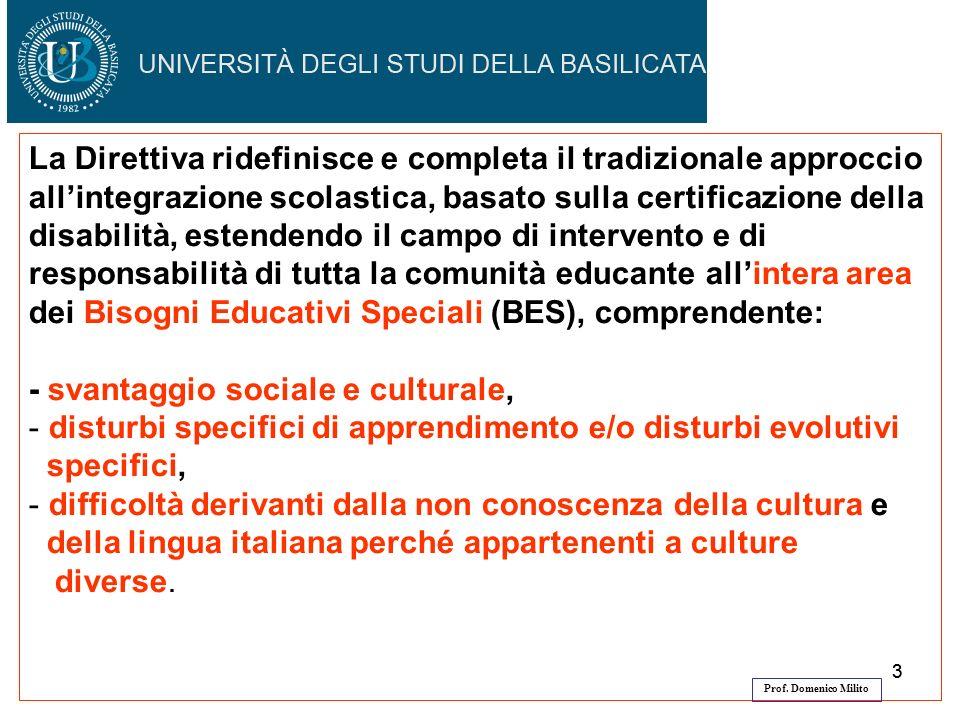 33 La Direttiva ridefinisce e completa il tradizionale approccio allintegrazione scolastica, basato sulla certificazione della disabilità, estendendo