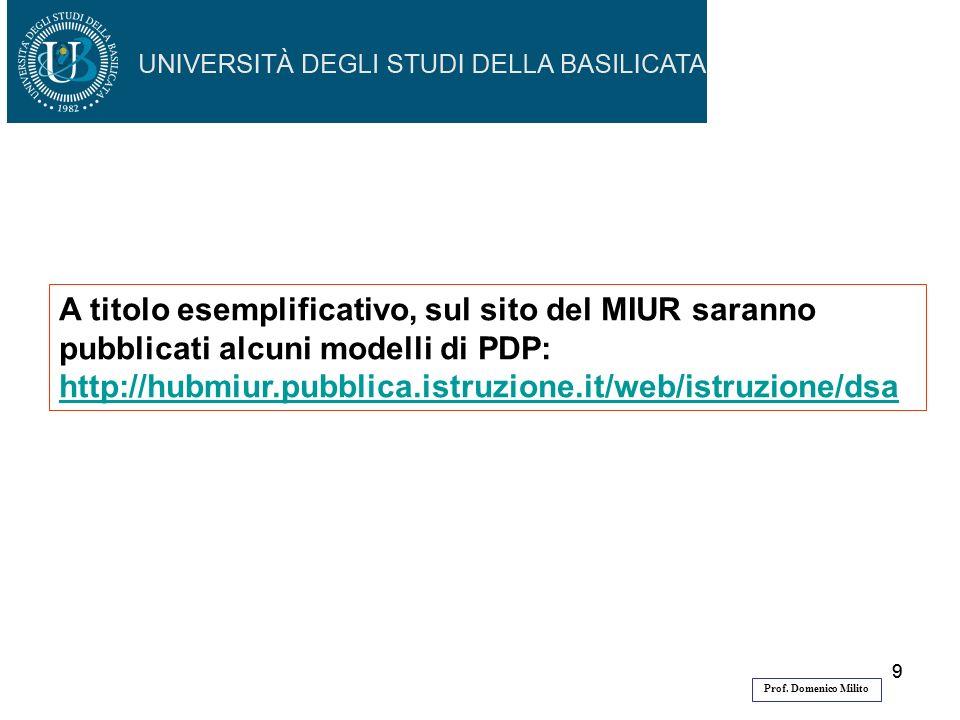 99 A titolo esemplificativo, sul sito del MIUR saranno pubblicati alcuni modelli di PDP: http://hubmiur.pubblica.istruzione.it/web/istruzione/dsa Prof