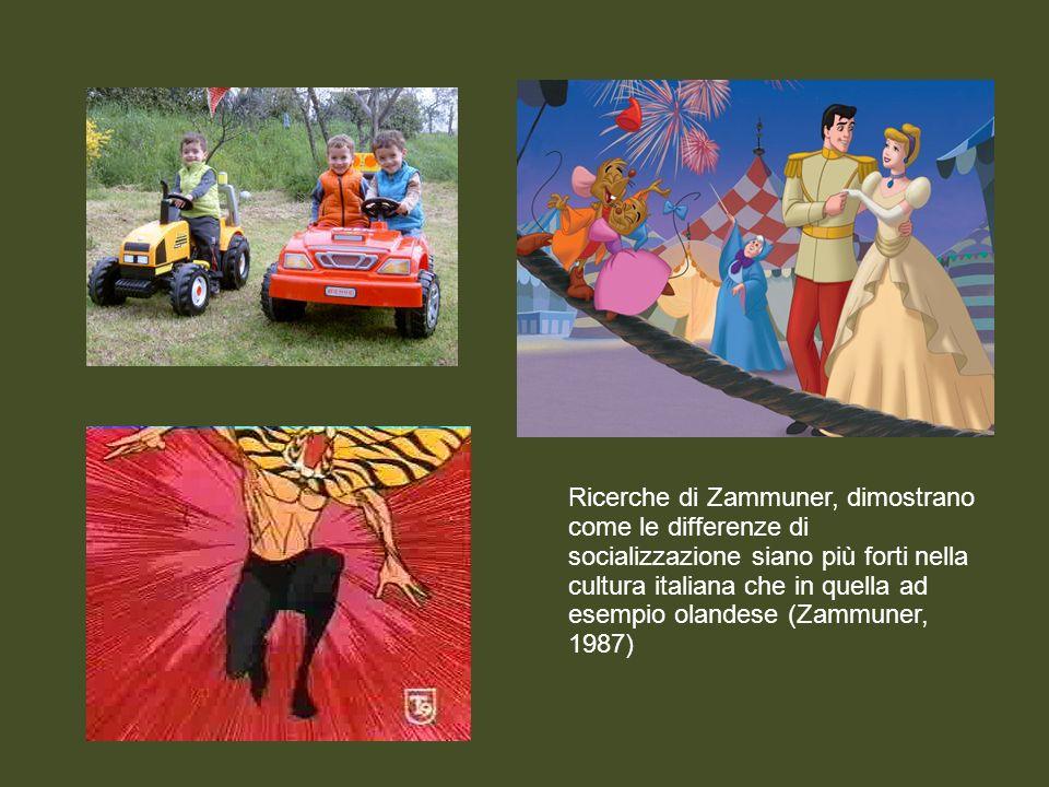 Ricerche di Zammuner, dimostrano come le differenze di socializzazione siano più forti nella cultura italiana che in quella ad esempio olandese (Zammu