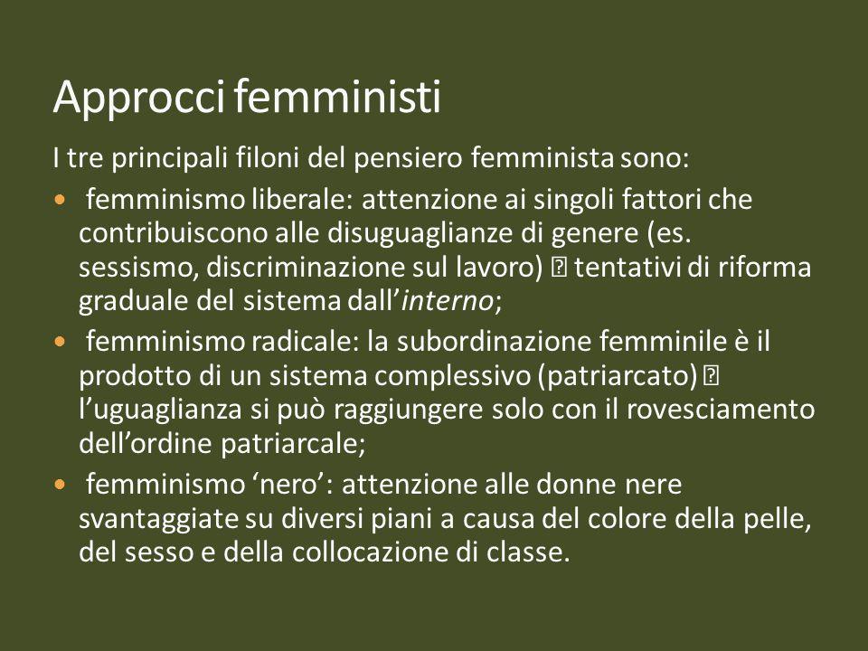 I tre principali filoni del pensiero femminista sono: femminismo liberale: attenzione ai singoli fattori che contribuiscono alle disuguaglianze di gen