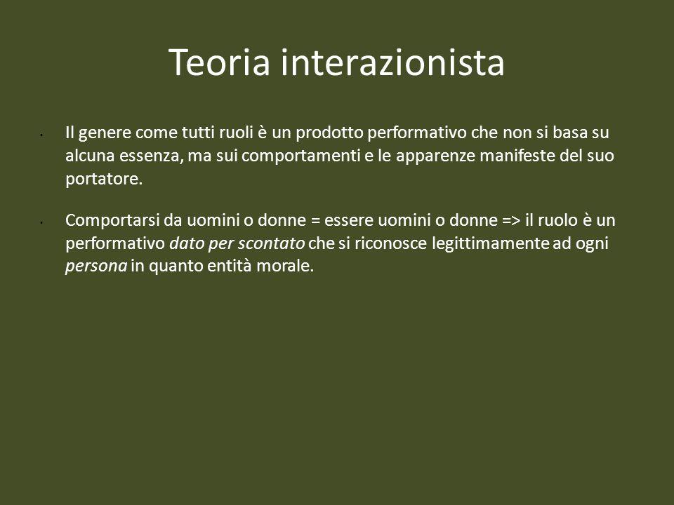 Teoria interazionista Il genere come tutti ruoli è un prodotto performativo che non si basa su alcuna essenza, ma sui comportamenti e le apparenze man