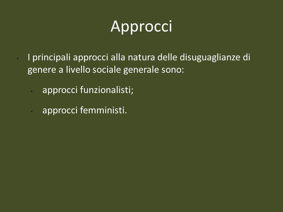 Approcci I principali approcci alla natura delle disuguaglianze di genere a livello sociale generale sono: approcci funzionalisti; approcci femministi