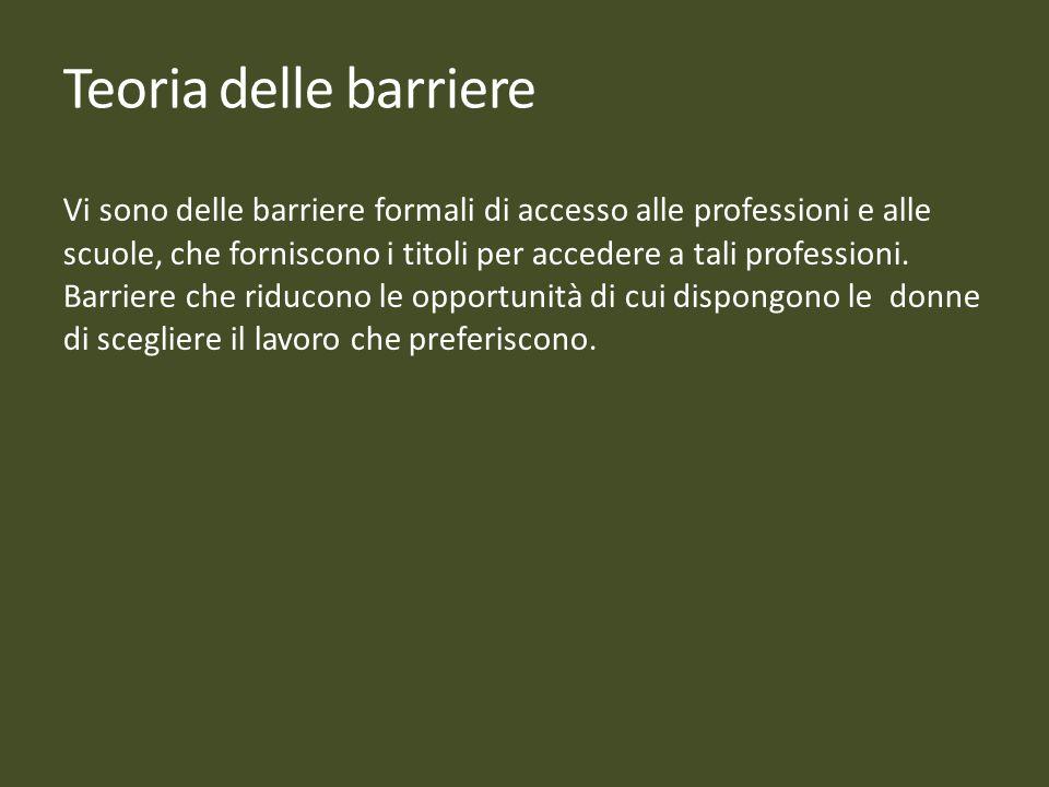 Vi sono delle barriere formali di accesso alle professioni e alle scuole, che forniscono i titoli per accedere a tali professioni. Barriere che riduco