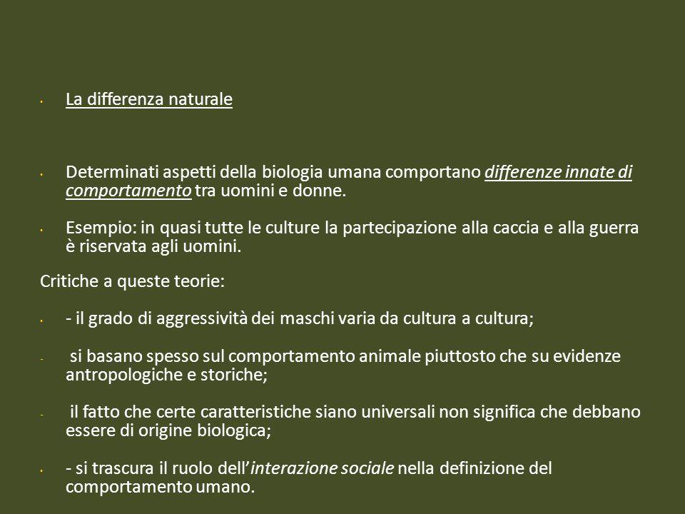 La differenza naturale Determinati aspetti della biologia umana comportano differenze innate di comportamento tra uomini e donne. Esempio: in quasi tu