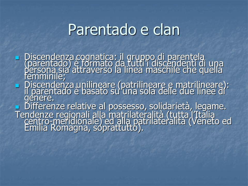 Parentado e clan Discendenza cognatica: il gruppo di parentela (parentado) è formato da tutti i discendenti di una persona sia attraverso la linea mas