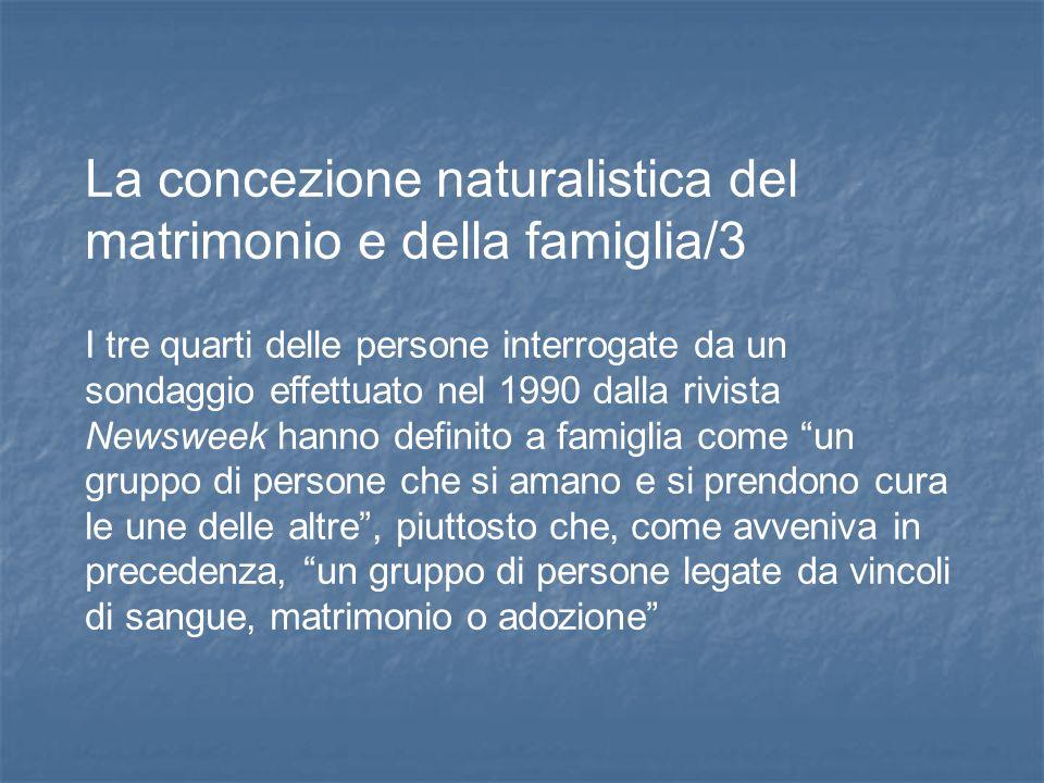 La concezione naturalistica del matrimonio e della famiglia/3 I tre quarti delle persone interrogate da un sondaggio effettuato nel 1990 dalla rivista