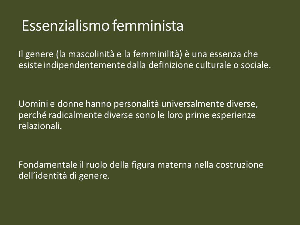 Il genere (la mascolinità e la femminilità) è una essenza che esiste indipendentemente dalla definizione culturale o sociale. Uomini e donne hanno per