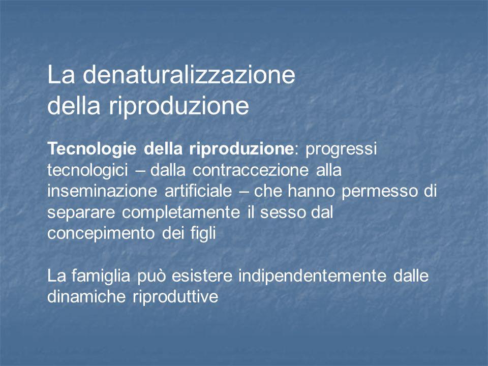 La denaturalizzazione della riproduzione Tecnologie della riproduzione: progressi tecnologici – dalla contraccezione alla inseminazione artificiale –