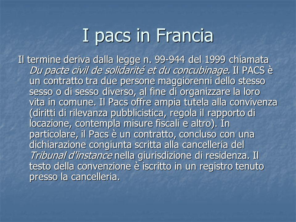 I pacs in Francia Il termine deriva dalla legge n. 99-944 del 1999 chiamata Du pacte civil de solidarité et du concubinage. Il PACS è un contratto tra