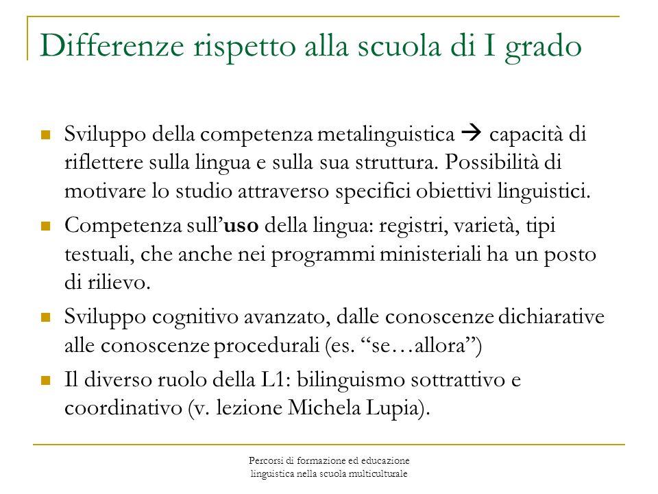Percorsi di formazione ed educazione linguistica nella scuola multiculturale Differenze rispetto alla scuola di I grado Sviluppo della competenza meta