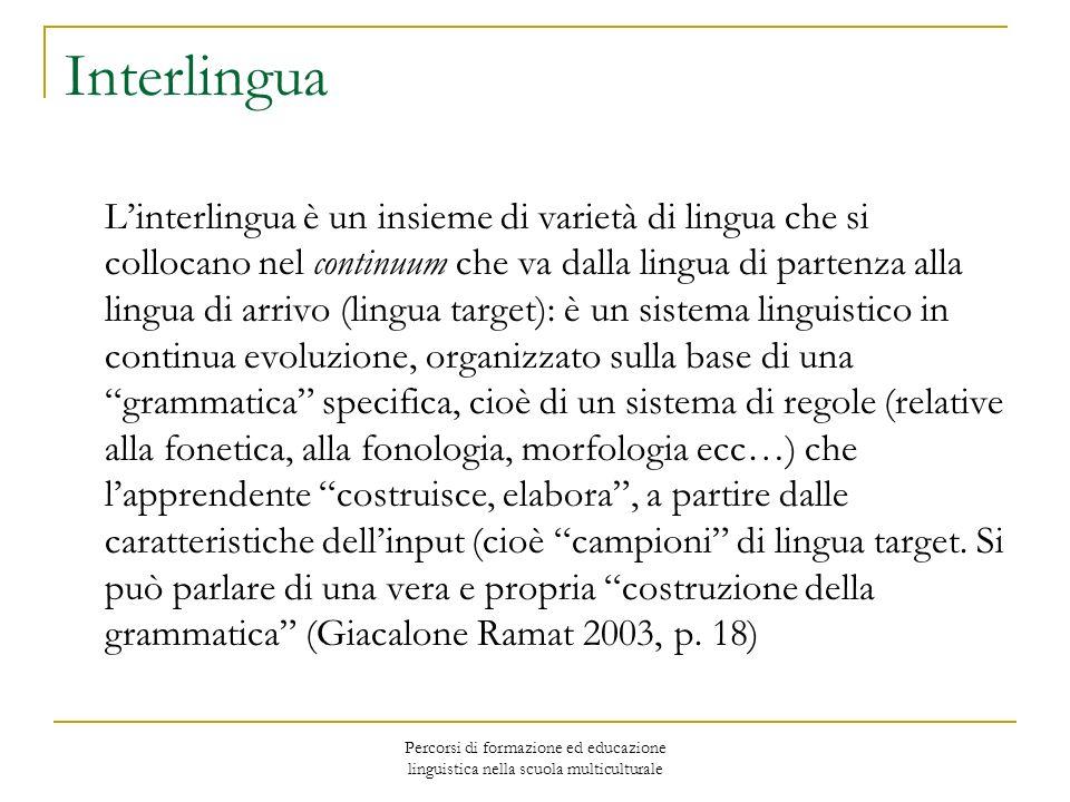 Percorsi di formazione ed educazione linguistica nella scuola multiculturale Interlingua Linterlingua è un insieme di varietà di lingua che si colloca