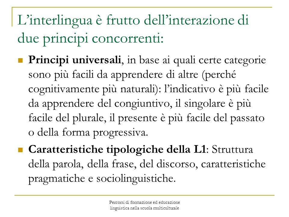 Percorsi di formazione ed educazione linguistica nella scuola multiculturale Le cause interne dellerrore Ipergeneralizzazione o errata categorizzazione (es.