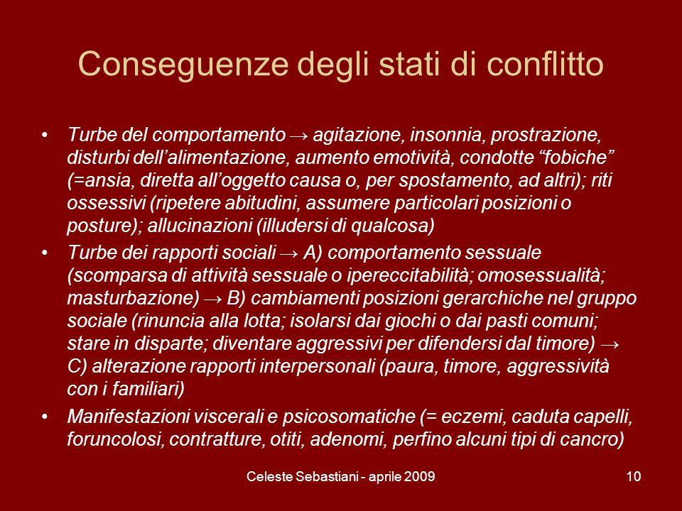 Celeste Sebastiani - aprile 200910 Conseguenze degli stati di conflitto Turbe del comportamento agitazione, insonnia, prostrazione, disturbi dellalime