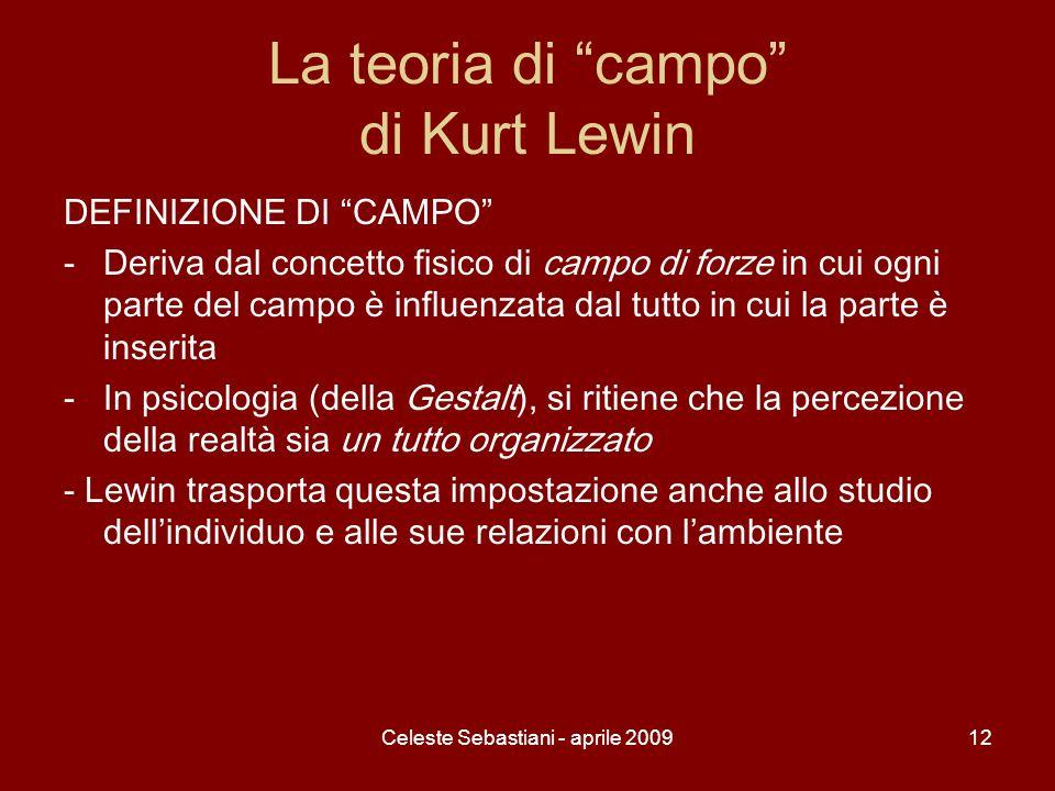 Celeste Sebastiani - aprile 200912 La teoria di campo di Kurt Lewin DEFINIZIONE DI CAMPO -Deriva dal concetto fisico di campo di forze in cui ogni par