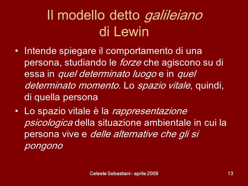 Celeste Sebastiani - aprile 200913 Il modello detto galileiano di Lewin Intende spiegare il comportamento di una persona, studiando le forze che agisc