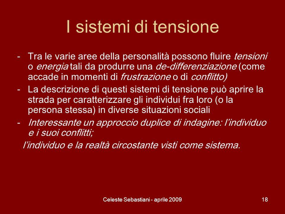 Celeste Sebastiani - aprile 200918 I sistemi di tensione -Tra le varie aree della personalità possono fluire tensioni o energia tali da produrre una d