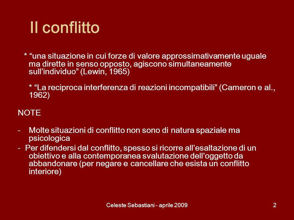 Celeste Sebastiani - aprile 200913 Il modello detto galileiano di Lewin Intende spiegare il comportamento di una persona, studiando le forze che agiscono su di essa in quel determinato luogo e in quel determinato momento.