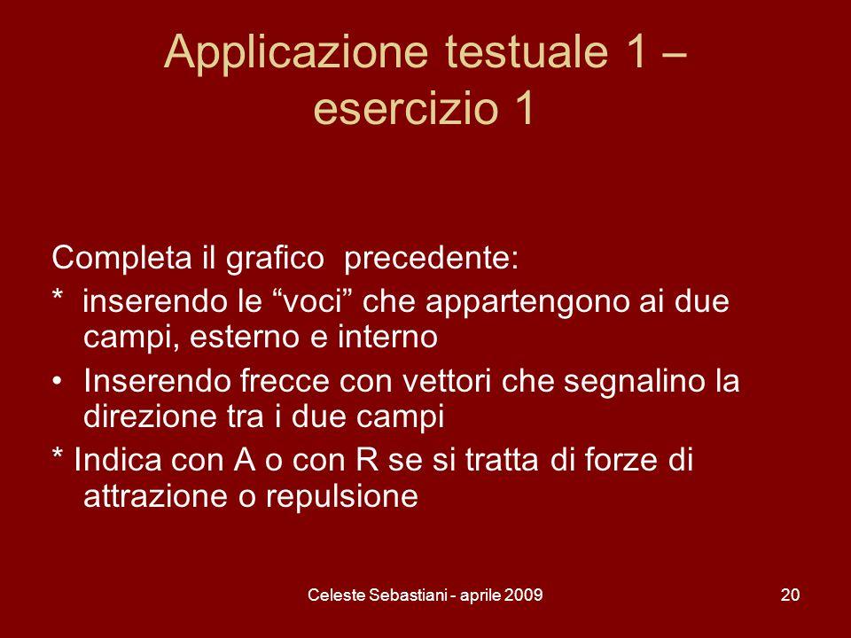 Celeste Sebastiani - aprile 200920 Applicazione testuale 1 – esercizio 1 Completa il grafico precedente: * inserendo le voci che appartengono ai due c