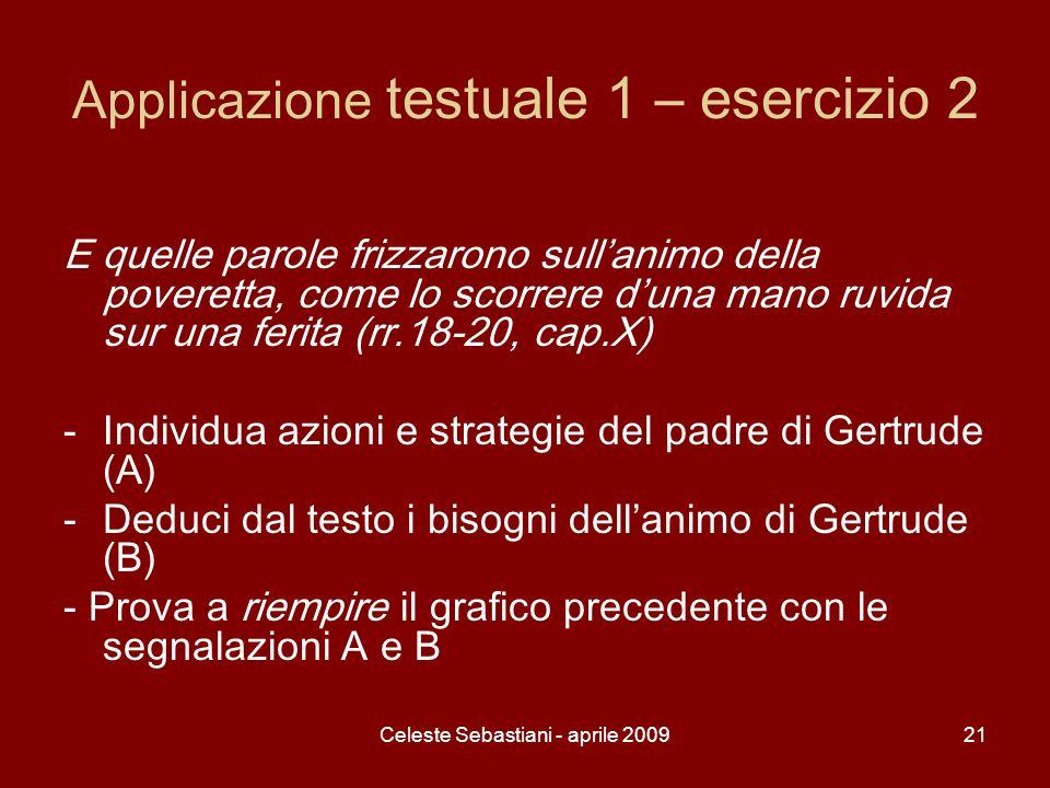 Celeste Sebastiani - aprile 200921 Applicazione testuale 1 – esercizio 2 E quelle parole frizzarono sullanimo della poveretta, come lo scorrere duna m