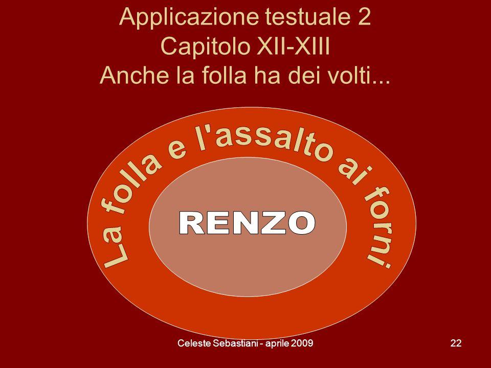 Celeste Sebastiani - aprile 200922 Applicazione testuale 2 Capitolo XII-XIII Anche la folla ha dei volti...