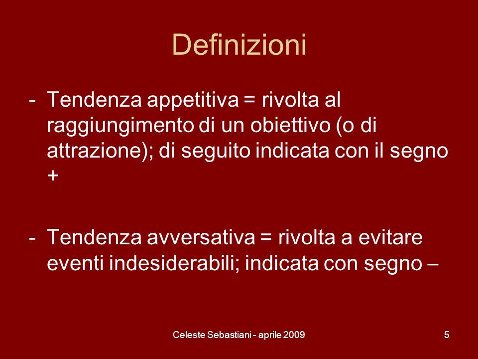 Celeste Sebastiani - aprile 20096 1- Conflitto tra due tendenze appetitive ( attrazione-attrazione) -Due obiettivi positivi, attraenti, ma la natura della situazione è che il soggetto può raggiungere uno solo dei due.