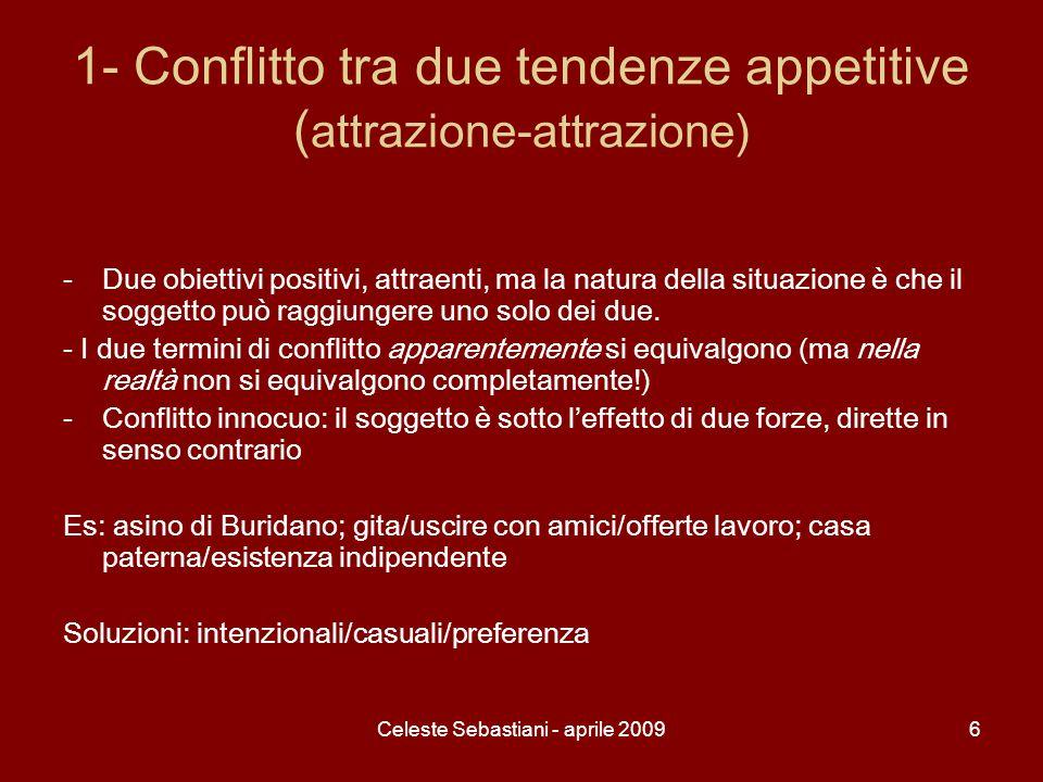 Celeste Sebastiani - aprile 20096 1- Conflitto tra due tendenze appetitive ( attrazione-attrazione) -Due obiettivi positivi, attraenti, ma la natura d