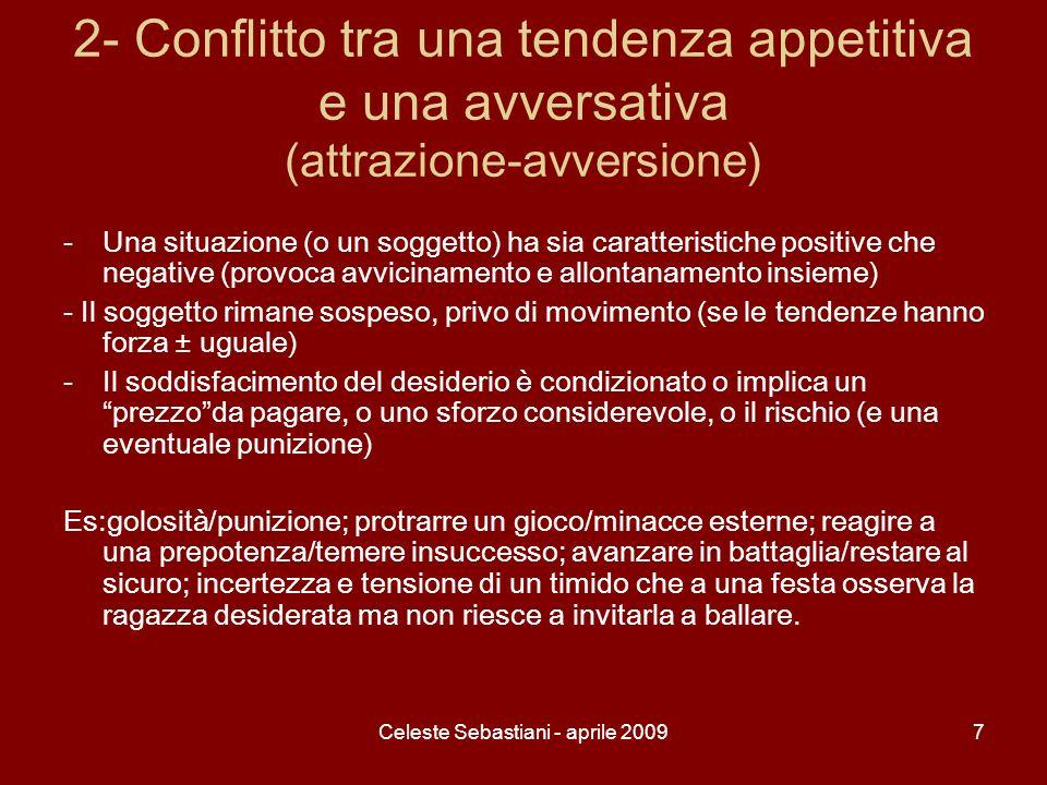 Celeste Sebastiani - aprile 20098 3- Conflitto tra due tendenze avversative -Due oggetti o situazioni negative, spiacevoli; questa condizione condurrebbe alla ritirata, ammesso che sia possibile.