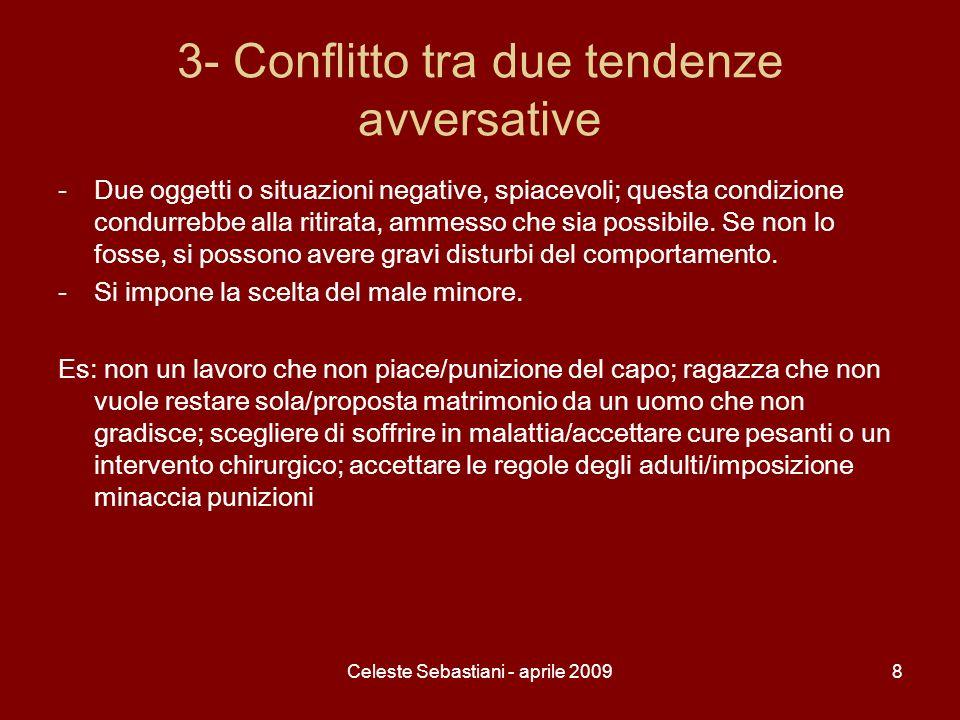 Celeste Sebastiani - aprile 20098 3- Conflitto tra due tendenze avversative -Due oggetti o situazioni negative, spiacevoli; questa condizione condurre