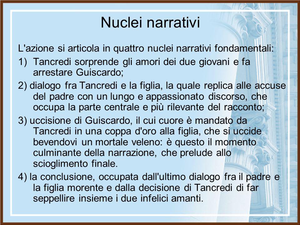 Nuclei narrativi L'azione si articola in quattro nuclei narrativi fondamentali: 1)Tancredi sorprende gli amori dei due giovani e fa arrestare Guiscard