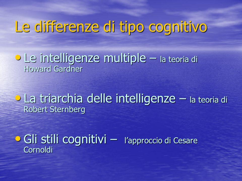 Le differenze di tipo cognitivo Le intelligenze multiple – la teoria di Howard Gardner Le intelligenze multiple – la teoria di Howard Gardner La triar