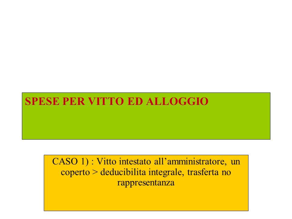 SPESE PER VITTO ED ALLOGGIO CASO 1) : Vitto intestato allamministratore, un coperto > deducibilita integrale, trasferta no rappresentanza