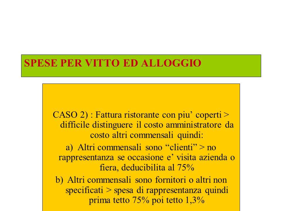 SPESE PER VITTO ED ALLOGGIO CASO 3) : La spesa e sostenuta dai soci della societa di persone: circ.