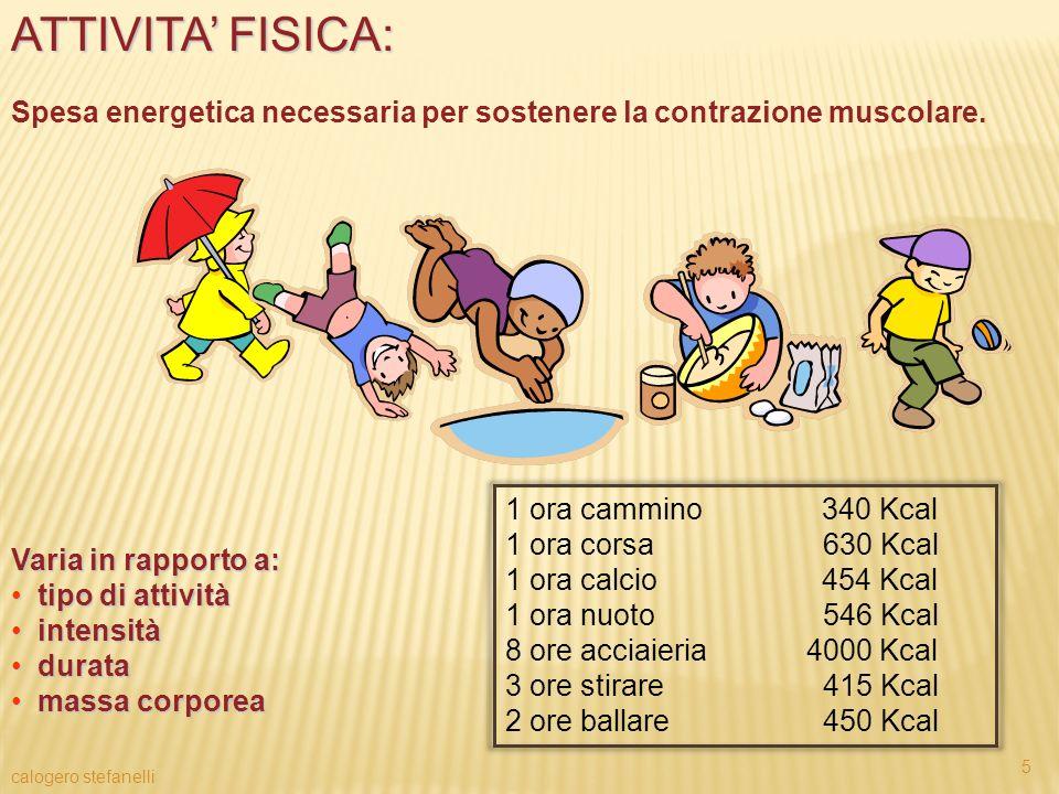 ATTIVITA FISICA: Spesa energetica necessaria per sostenere la contrazione muscolare. Varia in rapporto a: tipo di attività tipo di attività intensità