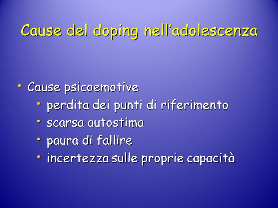 Cause del doping nelladolescenza Cause psicoemotive Cause psicoemotive perdita dei punti di riferimento perdita dei punti di riferimento scarsa autost