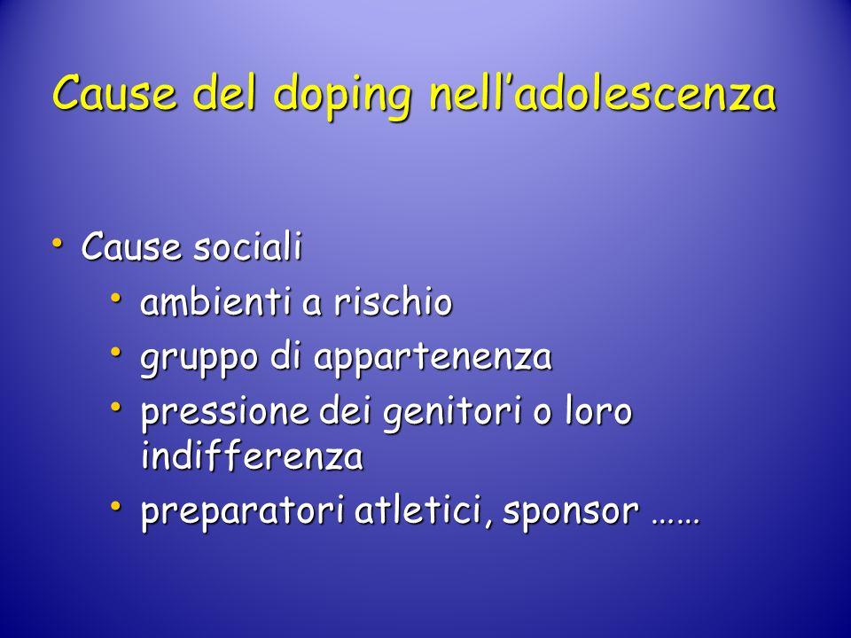 Cause del doping nelladolescenza Cause sociali Cause sociali ambienti a rischio ambienti a rischio gruppo di appartenenza gruppo di appartenenza press