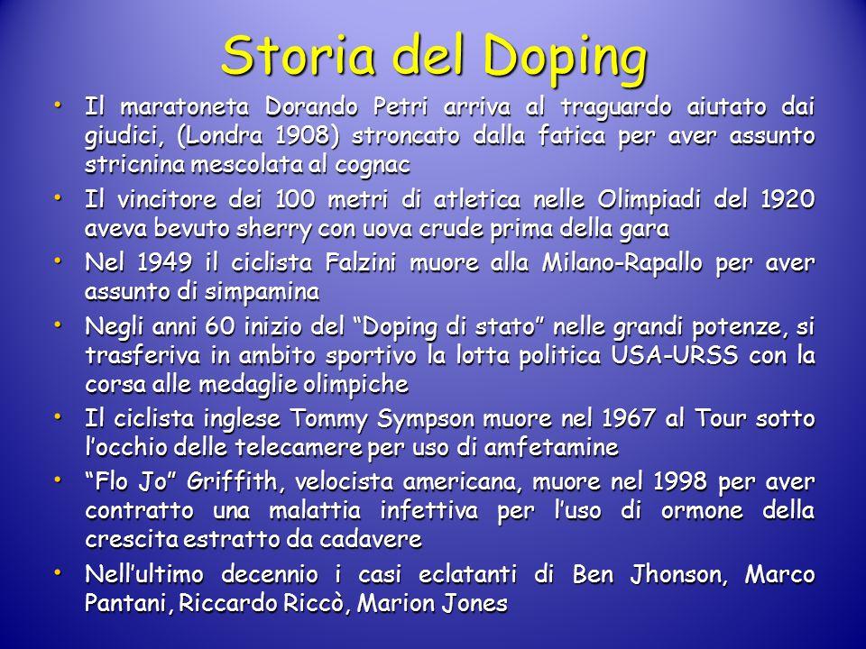 Storia del Doping Il maratoneta Dorando Petri arriva al traguardo aiutato dai giudici, (Londra 1908) stroncato dalla fatica per aver assunto stricnina