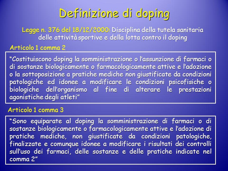 Definizione di doping Articolo 1 comma 2 Articolo 1 comma 3 Costituiscono doping la somministrazione o lassunzione di farmaci o di sostanze biologicam