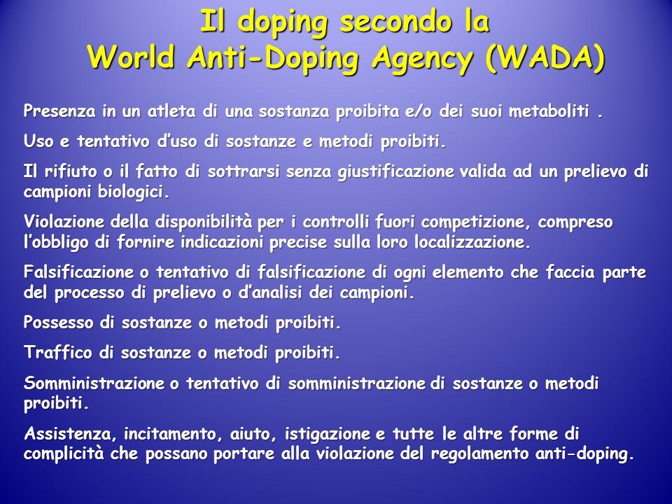 Il doping secondo la World Anti-Doping Agency (WADA) Presenza in un atleta di una sostanza proibita e/o dei suoi metaboliti. Uso e tentativo duso di s