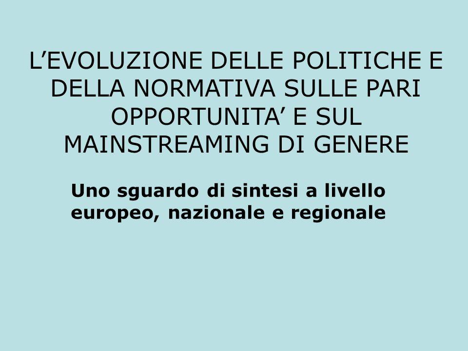 LEVOLUZIONE DELLE POLITICHE E DELLA NORMATIVA SULLE PARI OPPORTUNITA E SUL MAINSTREAMING DI GENERE Uno sguardo di sintesi a livello europeo, nazionale