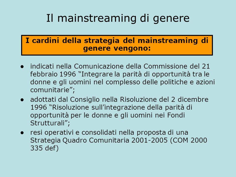 Il mainstreaming di genere indicati nella Comunicazione della Commissione del 21 febbraio 1996 Integrare la parità di opportunità tra le donne e gli u