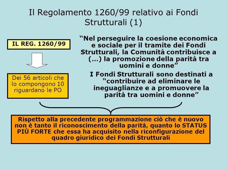 Il Regolamento 1260/99 relativo ai Fondi Strutturali (1) IL REG. 1260/99 Nel perseguire la coesione economica e sociale per il tramite dei Fondi Strut