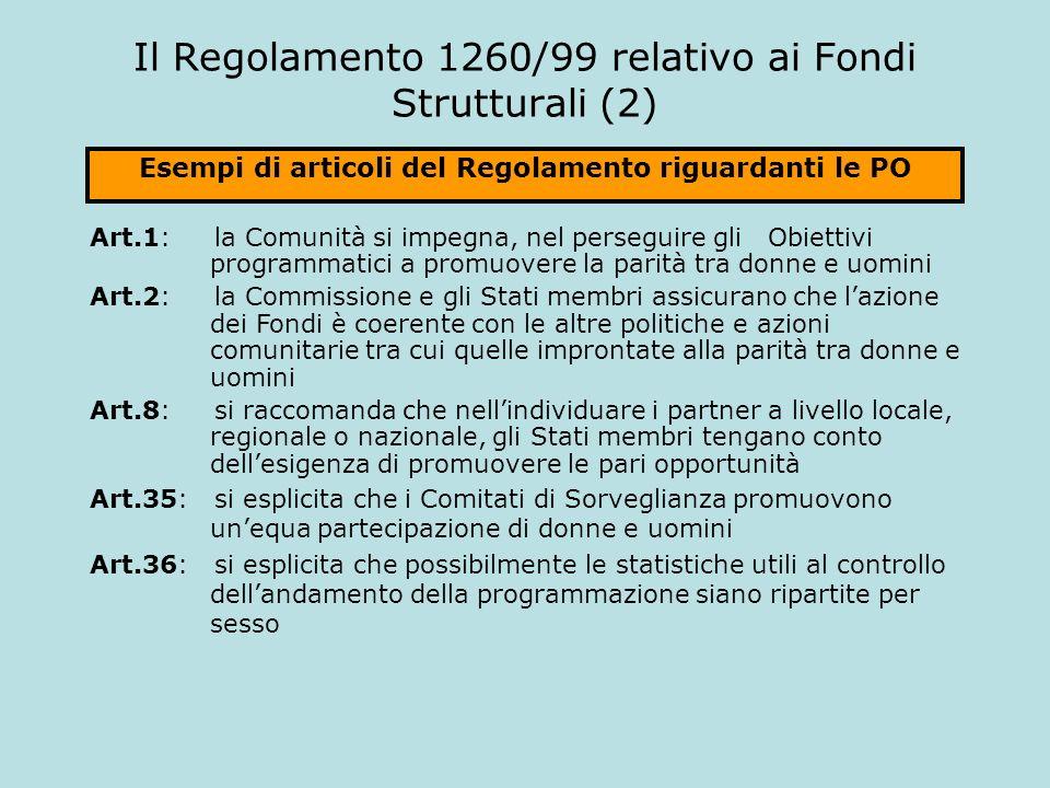 Il Regolamento 1260/99 relativo ai Fondi Strutturali (2) Art.1: la Comunità si impegna, nel perseguire gli Obiettivi programmatici a promuovere la par