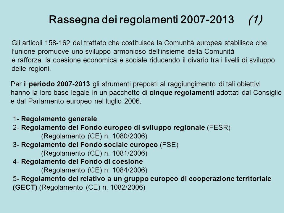 Rassegna dei regolamenti 2007-2013(1) Gli articoli 158-162 del trattato che costituisce la Comunità europea stabilisce che lunione promuove uno svilup